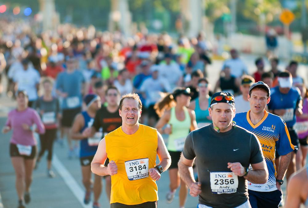 MIAMI, FL - JANUARY 30: Competitors running during the Miami Marathon. January 30, 2011 in Miami, Florida.