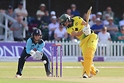 Ellyse Perry of Australia (8) driving powerfully through the covers during the Royal London Women's One Day International match between England Women Cricket and Australia at the Fischer County Ground, Grace Road, Leicester, United Kingdom on 4 July 2019.