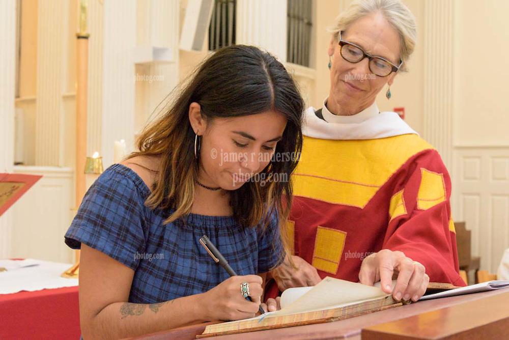 Berkeley Divinity School at Yale Matriculation 2016. New Berkeley Divinity School Student signing the Matriculation Book.