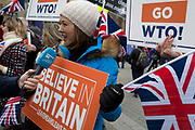On the day that Prime Minister Theresa Mays Meaningful Brexit vote is taken in the UK Parliament, Leave supporters protest opposite the House of Commons, on 15th January 2019, in Westminster, London, England.