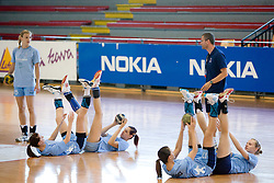 Barbara Varlec, Ana Gros, Alja Koren, Mirjana Gojkovic, Nusa Skutnik, Bostjan Brulec at practice of Slovenian Handball Women National Team, on June 3, 2009, in Arena Kodeljevo, Ljubljana, Slovenia. (Photo by Vid Ponikvar / Sportida)