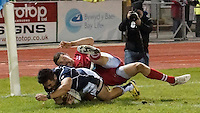Conwy, UK. Friday, 15 November 2013<br /> Pictured: Toshiaki Hirose scores a try<br /> Re: Japan v Russia rugby at Parc Eirias, Conwy, North Wales, United Kingdom.