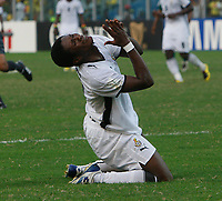 Photo: Steve Bond/Richard Lane Photography.<br /> Ghana v Nigeria. Africa Cup of Nations. 03/02/2008. Asamoah Gyan can't believe he's missed a sitter