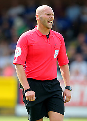 """Referee Charles Breakspear during a pre season friendly match at The Cherry Red Records Stadium, Kingston Upon Thames. PRESS ASSOCIATION Photo. Picture date: Saturday July 21, 2018. Photo credit should read: Mark Kerton/PA Wire. EDITORIAL USE ONLY No use with unauthorised audio, video, data, fixture lists, club/league logos or """"live"""" services. Online in-match use limited to 75 images, no video emulation. No use in betting, games or single club/league/player publications."""