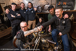 Samuele Reali with his crew of Abnormal Cycles at Motor Bike Expo. Verona, Italy. Thursday January 18, 2018. Photography ©2018 Michael Lichter.