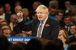 © Licensed to London News Pictures. 06/11/2019. Birmingham, UK.  Prime Minister Boris Johnson launches the Conservative Party election campaign at the NEC in Birmingham. Today is the first oficial day of the 2019 general election. Voters go to the polls on December 12th 2019. Photo credit: Peter Macdiarmid/LNP