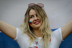 July 11, 2018 - Moscow, Vazio, Russia - Cheerer before the game between England and Croatia valid for the semi final of the 2018 World Cup, held at the Lujniki Stadium in Moscow, Russia. Croatia wins 2-1. (Credit Image: © Thiago Bernardes/Pacific Press via ZUMA Wire)