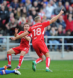 Aaron Wilbraham of Bristol City celebrates scoring in the Sky Bet Championship match between Bristol City and Blackburn Rovers at Ashton Gate Stadium on 22 October 2016 in Bristol, England - Mandatory by-line: Paul Knight/JMP - 22/10/2016 - FOOTBALL - Ashton Gate Stadium - Bristol, England - Bristol City v Blackburn Rovers - Sky Bet Championship