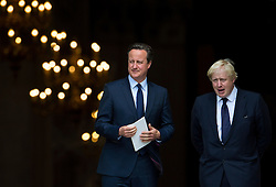 **FILE PICTURE- David Cameron and Boris Johnson will will campaign against each other ahead of an EU Referendum on June 23rd, 2016**© Licensed to London News Pictures. 07/07/2015. London, UK. DAVID CAMERON and BORIS JOHNSON leaving the service. . A church service held at St Paul's Cathedral In London on the 10th anniversary of the 7/7 bombings in London which killed 52 civilians and injured over 700 more.  Photo credit: Ben Cawthra/LNP