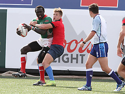 March 5, 2017 - Las Vegas, Nevada, United States of America - Kenyan Collins Injera is tackled by Russian Dmitry Sukhin during the 2017 USA Sevens International Rugby Tournament game between Kenya and Russia on March 4, 2017  at Sam Boyd  Stadium  in Las Vegas, Nevada (Credit Image: © Marcel Thomas via ZUMA Wire)