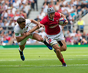 Twickenham, Surrey, World Cup, Sunday, 11.08.19, Wales, Jonathan DAVIES, playing in the Warm up match, Quilter International, England vs Wales, at the RFU Stadium  [© Peter SPURRIER/Intersport Image]<br /> <br /> 15:27:57