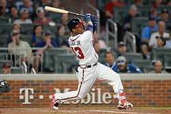 May 15, 2018 - Atlanta, GA, U.S. - ATLANTA, GA Ð MAY 15:  Braves rookie outfielder Ronald Acuna, Jr. (13) hits a go-ahead home run in the 8th inning during the game between Atlanta and Chicago on May 15th, 2018 at SunTrust Park in Atlanta, GA. The Chicago Cubs defeated the Atlanta Braves by a score of 3 -2.  (Photo by Rich von Biberstein/Icon Sportswire) (Credit Image: © Rich Von Biberstein/Icon SMI via ZUMA Press)