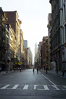 13 September 2001: A deserted Broadway street is open only to residents below 14th street.  This is a major street where thousands of businesses and people populate daily. Terrorist attack on the America's.  Lower Manhattan, NY. Area surrounding ground zero where the World Trade Centers WTC once stood only hours after they fell to the ground in New York.  Islamic terrorist Osama bin Laden declares The Jihad or Holy War against The United States of America on September 11, 2001. Headline news photos available for editorial use.