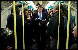 The Prime Minister on the Tube on his way back to his office after a visit in East London, London Thursday October 6, 2011. Photo By Andrew Parsons / i-Images.