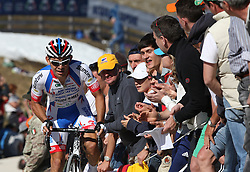 25/05/2010 Etape 16 - 93° GIRO D'ITALIA - Tour d'Italie - Contre la montre individuelle 12,9 km. San Vigilio Di Marebbe - Plan De Corones, Italy. .© Photo Pierre Teyssot / Sportida.com.SERPA PEREZ Jose Rodolfo COL.AND during the time trial, 16th stage on 25/05/2010, 2010 in Plan de Corones, Kron Platz, Italy.