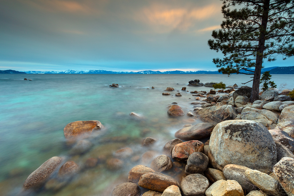 """""""Tahoe Boulders at Sunset 21"""" - Sunset photograph of boulders along the shoreline at Hidden Beach on Lake Tahoe's east shore."""