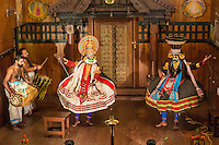 Kathakali is a  classical Indian dance drama noted for the attractive makeup of the characters, elaborate costumes, defined gestures and presented with dramatic background percussion.  It originated in Kerala during the seventeenth century and is a popular form of entertainment in Southern India.