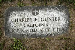 31 August 2017:   Veterans graves in Park Hill Cemetery in eastern McLean County.<br /> <br /> Charles E Gunter  California 1 Sergeant 8 Field Artillery 7 DIV February 21 1919