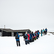 Tourists visit the historic site of Wordie House in Antarctica. Originally known as Base F and later renamed after James Wordie, chief scientist on Ernest Shackleton's major Antarctic expedition, Wordie House dates to the mid-1940s. It was one of a handful of bases built by the British as part of a secret World War II mission codenamed Operation Tabarin. The house is preserved intact and stands near Vernadsky Research Base in the Argentine Islands in Antarctica.