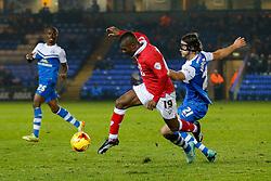 Kieran Agard of Bristol City is challenged by Christian Burgess of Peterborough United - Photo mandatory by-line: Rogan Thomson/JMP - 07966 386802 - 28/11/2014 - SPORT - FOOTBALL - Peterborough, England - ABAX Stadium - Peterborough United v Bristol City - Sky Bet League 1.