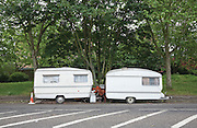 Two caravans on Akerman Road, Camberwell. London, UK, 2009