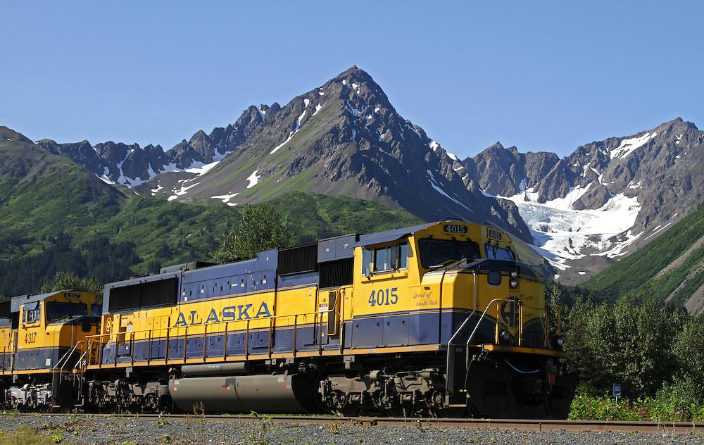 Alaska. Alaska Railroad approaching northbound leaving Seward.