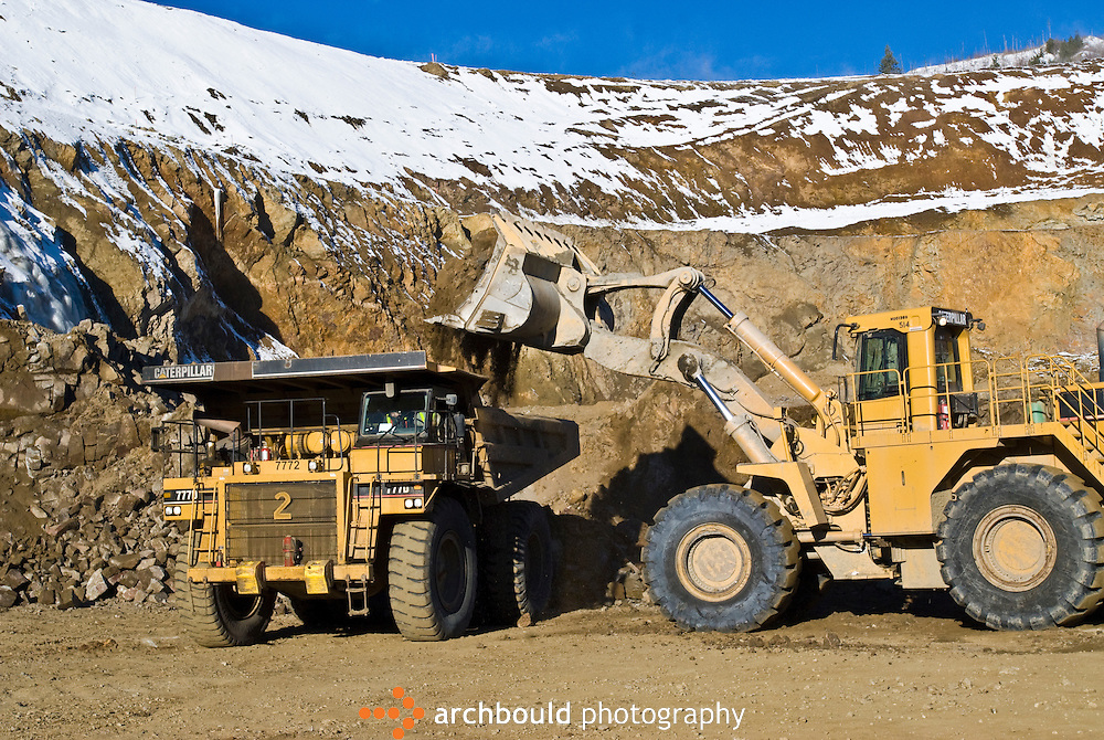 Heavy equipment working at the Minto Mine, Yukon, Canada.<br /> <br /> NOT IN YOUR BUDGET? Contact Cathie for a price specific to your project.