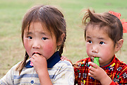 portrait of two Mongolian girls