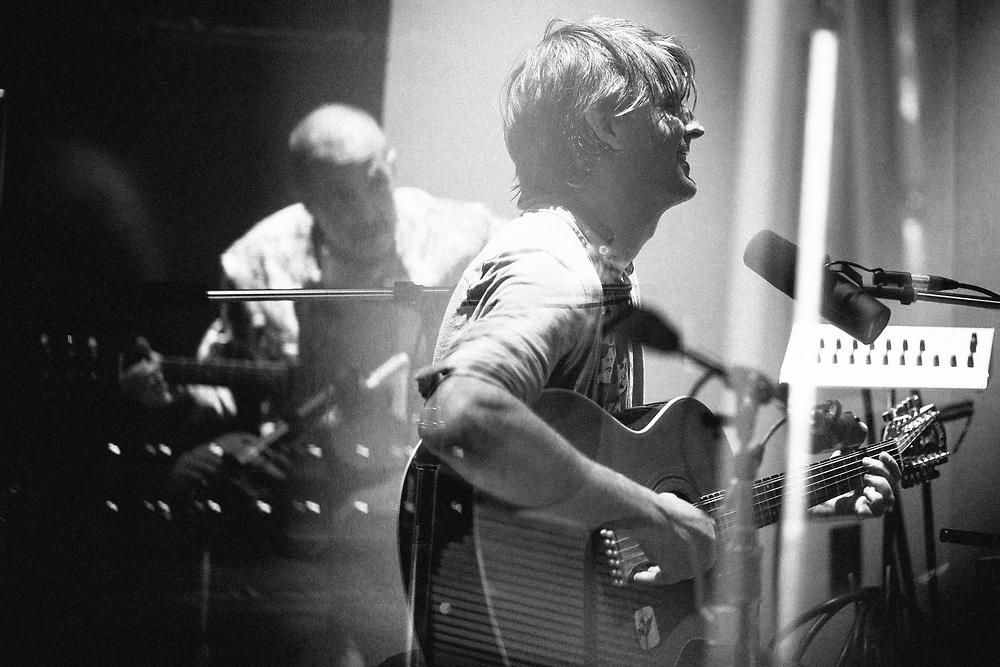 Stephen Malkmus recording with Qais Essar, Negine Jasmine, Matt Sweeney, Eric Zang at Halfling Studio in Portland, OR. Produced by Chris Funk, Engineered by Adam Lee. Photo by Jason Quigley
