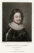 Frederick V (1596-1632) Elector Palatine 1610-1623, King of Bohemia 1619-1620 known as The Winter King.  Married Elizabeth, daughter of James I of Great  Britain and VI of Scotland.  Accepted the throne of Protestant Bohemia but was defeated in November 1620  at the Battle of the White Mountain by the Roman Catholic forces of the Holy Roman Emperor and spent the rest of his life in exile. Lithograph after Van Dyck.