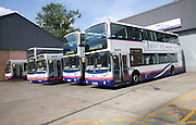 First buses in depot, Ipswich, England