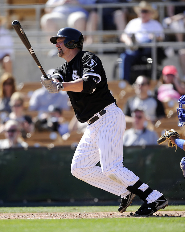 GLENDALE, AZ - MARCH 03:  Paul Konerko #14 of the Chicago White Sox bats against the Kansas City Royals on March 3, 2014 at The Ballpark at Camelback Ranch in Glendale, Arizona. (Photo by Ron Vesely)   Subject: Paul Konerko