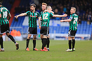 Rochdale celebrate Gerrard own goal 1-2 during the Sky Bet League 1 match between Oldham Athletic and Rochdale at Boundary Park, Oldham, England on 19 March 2016. Photo by Daniel Youngs.