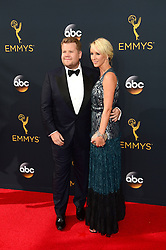 September 18, 2016 - Los Angeles, CA, USA - James Corden, left, and Julia Carey arrive at the 68th Annual Emmy Awards at the Microsoft Theater in Los Angeles, California on Sunday, September 18, 2016. (Credit Image: © Michael Owen Baker/Los Angeles Daily News via ZUMA Wire)