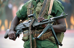 KINSHASA, DEMOCRATIC REPUBLIC OF CONGO - JUNE 30, 2001 - A soldier stands guard in Kinshasa during independence day celebrations marking 41 years of independence from Belgium. (PHOTO © JOCK FISTICK)