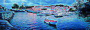 Art panorama of fishing boats in the small harbor at evening in Mundaka, Spain. Signed and numbered Limited Edition of 250 canvas giclees.