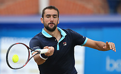 Croatia's Marin Cilic in action against Luxembourg's Gilles Muller during day six of the 2017 AEGON Championships at The Queen's Club, London.