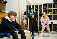 """William Shakespeare"" M. Maas-Kisiel, ""Rosalind"" M. Osmer, ""Portia"" A. LaDue and ""Kate"" A. Metevier rehearse ""While Shakespeare Slept"" at Belmont High School Wednesday afternoon.  (Karen Bobotas/for the Laconia Daily Sun)"