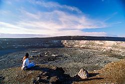 tourist at Halema`uma`u Crater and Mauna Loa, Kilauea Caldera, Hawaii Volcanoes National Park, Big Island, Hawaii