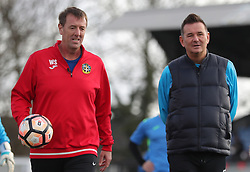 Sky Sports pundit Matt Le Tissier (left) with Sutton United manager Paul Doswell during the Sutton United training session at Gander Green Lane, London.