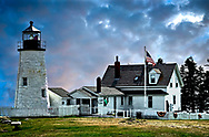 An image of the Pemaquid Lighthouse on mid-coast Maine, with a dramatic sky.