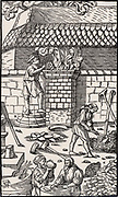 Blast furnace for smelting iron ore.  From 'De re metallica', by Agricola, pseudonym of Georg Bauer (Basle, 1556).  Woodcut.