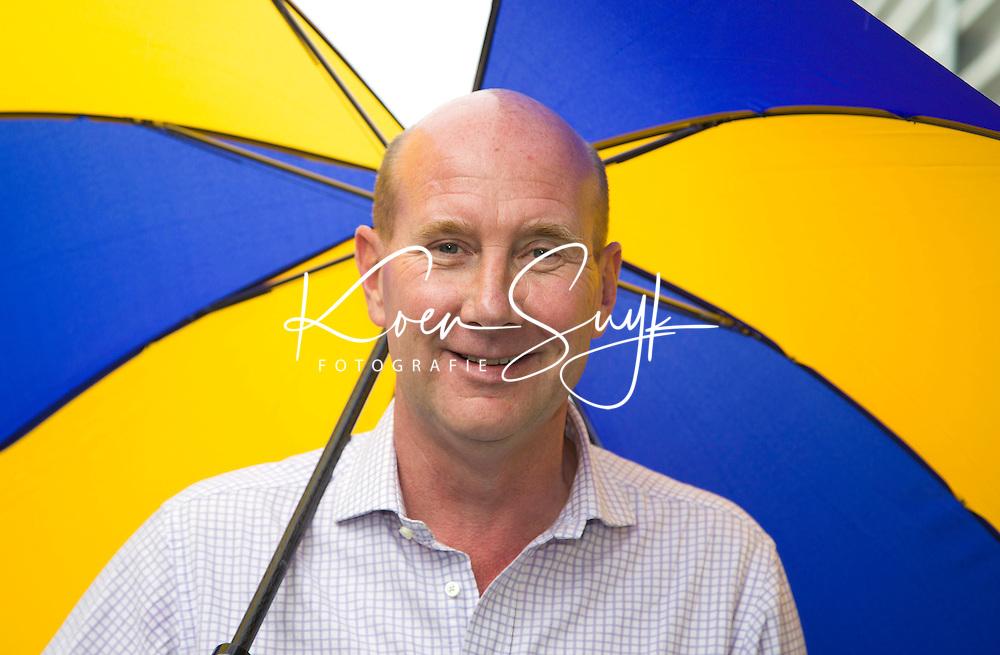 DEN HAAG - JOHN VAN VLIET , TV commentator presentator. Rabobank World Cup Hockey 2014 . COPYRIGHT KOEN SUYK
