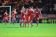 Lee Novak goal celebration during the Sky Bet League 1 match between Rochdale and Chesterfield at Spotland, Rochdale, England on 9 January 2016. Photo by Daniel Youngs.