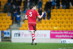 Aberdeen's Ash Taylor at the end. <br /> St Johnstone 3 v 4Aberdeen, SPFL Ladbrokes Premiership played 6/2/2016 at McDiarmid Park, Perth.