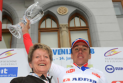 Sonja Gole of Adria and Robert Kiserlovski of Croatia Adria Mobil), 3rd in overall classification at 15th Tour de Slovenie and the best young cyclist in general after 4th stage of the 15th Tour de Slovenie from Celje to Novo mesto (157 km), on June 14,2008, Slovenia. (Photo by Vid Ponikvar / Sportal Images)/ Sportida)