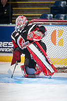 KELOWNA, CANADA - NOVEMBER 9: Zach Sawchenko #31 of Team WHL warms up in net against the Team Russia on November 9, 2015 during game 1 of the Canada Russia Super Series at Prospera Place in Kelowna, British Columbia, Canada.  (Photo by Marissa Baecker/Western Hockey League)  *** Local Caption *** Zach Sawchenko;