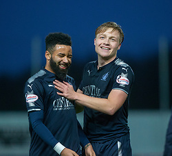 Falkirk's Alex Jakubiak and Falkirk's Peter Grant at the end. Falkirk 3 v 1 Inverness Caledonian Thistle, Scottish Championship game played 27/1/2018 at The Falkirk Stadium.