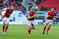 Jonathan Davies of the Scarlets runs in to score the 1st try.  Rabodirect Pro12 rugby, Scarlets v Cardiff Blues at the Parc y Scarlets in Llanelli, South Wales on Saturday 20th April 2013. pic by Andrew Orchard,  Andrew Orchard sports photography,