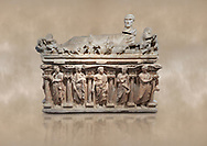"""Roman relief sculpted sarcophagus with kline couch lid with a reclining male figuer depicted, """"Columned Sarcophagi of Asia Minor"""" style typical of Sidamara, 3rd Century AD, Konya Archaeological Museum, Turkey. Against a warm art background. .<br /> <br /> If you prefer to buy from our ALAMY STOCK LIBRARY page at https://www.alamy.com/portfolio/paul-williams-funkystock/greco-roman-sculptures.html . Type -    Konya     - into LOWER SEARCH WITHIN GALLERY box - Refine search by adding a subject, place, background colour, museum etc.<br /> <br /> Visit our ROMAN WORLD PHOTO COLLECTIONS for more photos to download or buy as wall art prints https://funkystock.photoshelter.com/gallery-collection/The-Romans-Art-Artefacts-Antiquities-Historic-Sites-Pictures-Images/C0000r2uLJJo9_s0"""